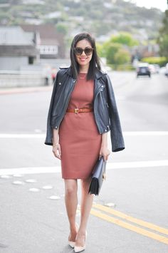 A moto jacket adds a touch of edge to classic workwear