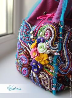 Beaded accessory Фламинго - разноцветный, цветочный, бисер, вышивка, полимерная глина, бисер, Фатин средней жесткости