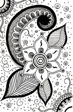 doodle. doodles. zentangle flower ink drawing pen