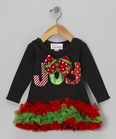 Take a look at this Black 'Joy' Long Sleeve Ruffle Dress - Infant, Toddler & Girls by The Princess and the Prince on #zulily today!