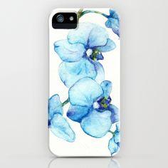 Blue Orchids - Watercolor iPhone Case