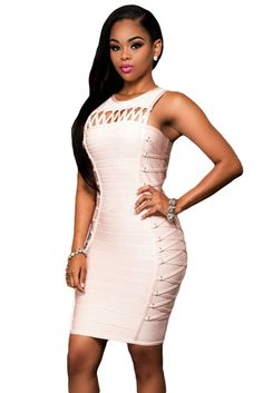 Pink Lace Up Design Luxe Bodycon Bandage Dresses