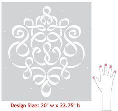 Large Wall Stencil   Ribbon Damask Stencil   Royal Design Studio