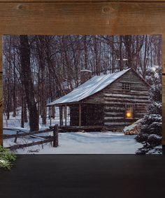 Snowcapped Cabin Light-Up Canvas