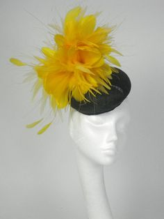 Black and Yellow  Fascinator Kentucky Derby or by Hatsbycressida, $120.00