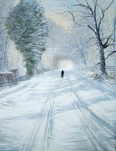 Artist Jeff Rowland ~ English Romatic Artist ~ - Art And Beauty Pop Art Studio, Rainy City, Rain Photo, Christmas Artwork, Winter Painting, Snow Scenes, City Landscape, Woman Painting, Artist Art