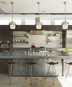 charcoal, steel, white subway tiles kitchen