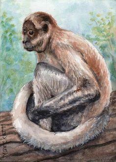 ACEO Original Painting Spider Monkey animals wildlife ape primate troop jungle  #Impressionism