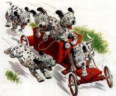 Dalmatians having fun! #vintage #dogs