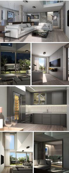 Stadtvilla modern mit Anbau für Einliegerwohnung Büro - Fertighaus