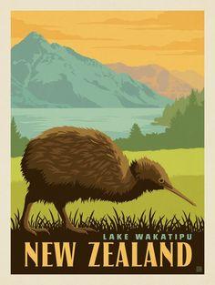 Vintage Travel Anderson Design Group – World Travel – New Zealand: Lake Wakatipu (Kiwi) -