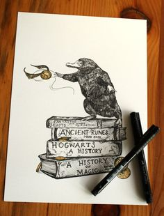 An print of the mischievous niffler, from an original drawing using faber-castell pitt pens. this is perfect for any harry potter fan or makes a great Harry Potter Fan Art, Hery Potter, Harry Potter Sketch, Harry Potter Drawings, Harry Potter World, Etsy Harry Potter, Harry Potter Tattoos Sleeve, Harry Potter Tattoo Unique, Harry Potter Gifts