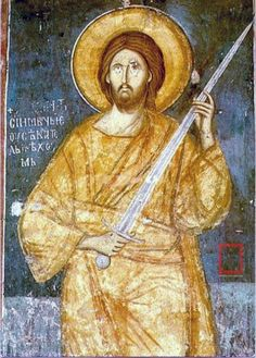"""""""I came not to bring peace but to bring a sword"""" The fresco is in the katholikon of the Sacred Monastery of the Ascension of Christ (Visoki Dečani) in Kosovo and dates back to the century. Byzantine Icons, Byzantine Art, Religion, Orthodox Icons, Sacred Art, Christian Art, Christian Images, Religious Art, Religious Icons"""