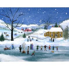 A Winter snow scene of Otsego Lake in Cooperstown, N. It is a skating scene with a yellow farm house and red barn with cows in front. Otsego Lake, Barn Dance, Oil Water, Pen And Watercolor, Halloween Images, Snow Scenes, Limited Edition Prints, Winter Snow, Original Paintings