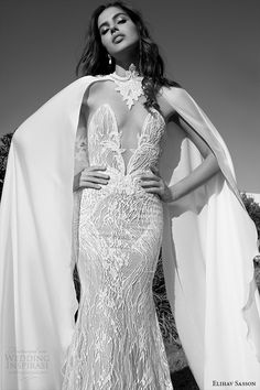 elihav sasson wedding dress 2015 strapless plunging v neckline lace sheath gown with cape