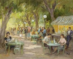 The Cafe at Champs Elysees by Marcel Dyf (French 1899-1985)