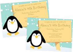 Penguin Party Invitations by cranberrydesign on Etsy, $10.00
