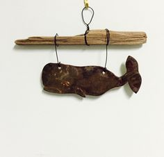 Pottery+whale+wall+hanging+with+driftwood+by+PotteryTherapy+on+Etsy