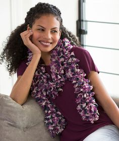 Ruffled With Love Scarf Free Knitting Pattern from Red Heart Yarns