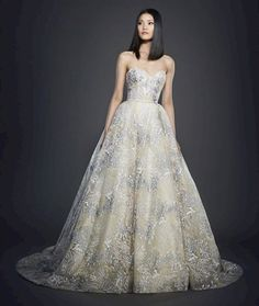 Lazaro 3716. Ivory and blue floral embroidered bridal ball gown, strapless sweetheart neckline, natural waist, box pleated skirt, chapel train