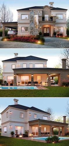 Modern home design Classic House Design, House Front Design, Dream Home Design, Modern House Design, Home Building Design, Building A House, Bedroom Minimalist, House Construction Plan, Luxury Homes Dream Houses