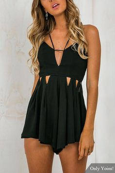 Sexy Sleeveless Open Back Playsuit with Cut Out Details from mobile - US$19.95 -YOINS