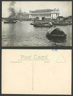 Singapore Panorama Native Sampans Boats with Cargo Bldgs Old Real Photo Postcard Picture Postcards, Old Postcards, General Post Office, Europe Street, Victoria Memorial, Harbor Bridge, Ferry Boat, Old Pictures