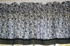 """Black White Floral Toile Valance 17"""" x 81"""" Can Alter Curtain Window Treatment #Black #Floral #Toile"""
