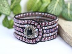 Purple Luster Beaded Leather Cuff, 5 Row, Leather Wrap Bracelet, Handmade, Leather Jewelry, Boho Beaded Bracelet