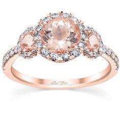 Bel Dia Three Stone Round Morganite Engagement Ring