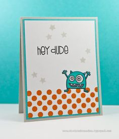 Hey dude by Cheiron Brandon for the Simon Says stamp Wednesday challenge (Spots and Dots) July 2014
