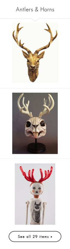 """Antlers & Horns"" by nexus-pris ❤ liked on Polyvore featuring home, home decor, head sculpture, monkey home decor, deer sculpture, country style home decor, country home decor, handmade home decor, skull sculpture and antler home decor"