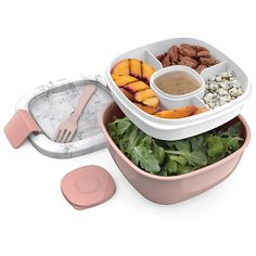 Salad Lunch Box, Bento Box Lunch, Lunch Boxes, Large Salad Bowl, Salad Bowls, Healthy Fruits And Vegetables, Healthy Salads, Salad Toppings, Lunch Box Containers