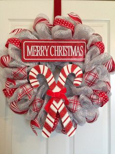 Christmas Deco mesh wreath on Etsy, $65.00