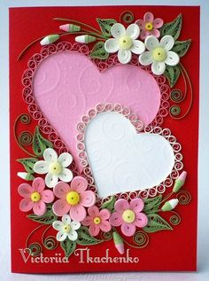 The name of artits is written at the bottom, on the left - quilled valentine and heart cards (Searched by Châu Khang)