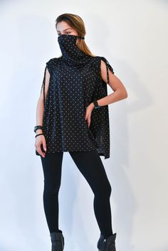 2 in 1 Long Tunic with Face Mask/Shirt with integrated Mask/Handmade Tunic with Mask/Protective Tunic/Two in One Protective Scarf/F2137 Blue Face Mask, 2 In, Fashion Accessories, Tunic, Cotton, How To Wear, Handmade, Shirts, Etsy