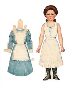 Jane the Nurse, from the Cranford Children series of Dressing Dolls, published by Raphael Tuck. The patent date on the back says 1894, but this series of paper dolls is listed in the 1910-1936 section of the Blair and Margaret Whitton collector's guide.