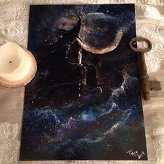Print from Original Painting Cat Girl Pagan Moon by TerriAnnFoss