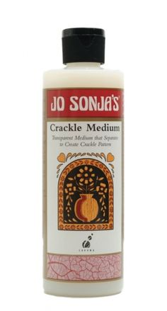 My favourite crackle product, UK supplier - Jo Sonja's Crackle Medium is a transparent medium, which causes Jo Sonja's Artists' and Background Colours to separate into fine crazed or crackled patterns in a one-step process. Use to simulate the effects of aging.