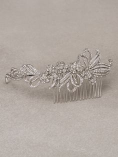 PEDRERA COMB - Asymmetrical bridal comb in aged silver and gemstones
