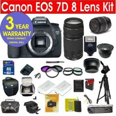 "Canon EOS 7D 18 MP Digital SLR Camera with 8 Lens Deluxe Camera Outfit by Canon. $1979.99. You get the following Brand New items:Canon EOS 7D Digital SLR >Canon  18-55 Image Stabilizer LensCanon 75-300 F4-5.6 III USM Telephoto Lens.42x HD Super Wide Angle Panoramic Macro Fisheye Lens2x Telephoto LensClose-Up +1 +2 +4 +10 Macro lens Set with PouchUV filterCircular  Polarizer filter57"" Tripod2 Cases (holster case plus system case)8 GB High Speed Memory CardExtra Rechargeable Batt..."