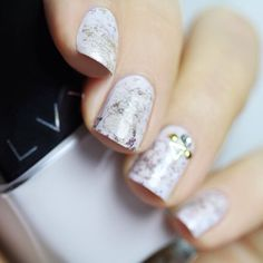 Pearl White Marbled Nails With Gold Accents