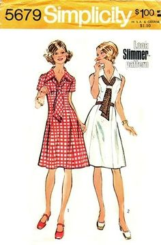 Simplicity 5679 Terrific Looking Dress & Tie 1973