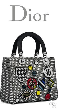 Brilliant Luxury * Dior Summer 2016 ~ Lady Dior bag in white Cannage lambskin with black mesh and badges