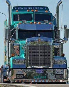 Kenworth Conventional with an Aerodyne Sleeper - The Green Dragon Show Trucks, Big Rig Trucks, Old Trucks, Chevy Trucks, Customised Trucks, Custom Trucks, Freightliner Trucks, Custom Big Rigs, Heavy Duty Trucks