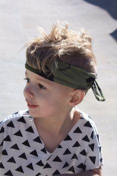 Camo Warrior Band Boy Bandanna style Headband OAK by KindredOAK