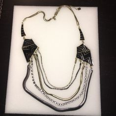 Statement necklace Statement necklace. Mixed metals- gold and silver and black. Jewelry Necklaces