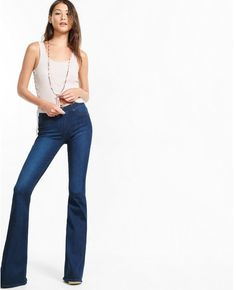 Loving that flare leg jeans are coming back! - Express mid rise pull-on bell flare jean