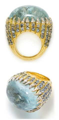 Diamond and aquamarine ring by Tony #Duquette. Via Diamonds in the Library.