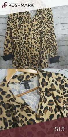 Lane Bryant size 24 Leopard Cuffed shirt Lame Bryant size 24 new without tags Leppard print black cuffed button colored shirt Lane Bryant Tops Button Down Shirts